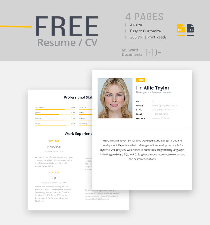 25 Best Free Cv Templates Psd Ai Word Docx Rogue Pony